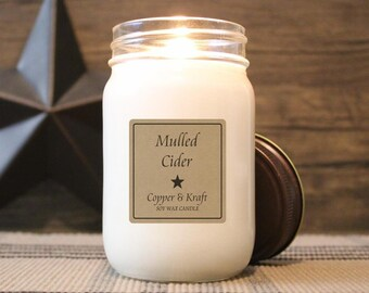 Mulled Cider • Fall Candles, Autumn Candle, Soy Candle, Scented Candle, Candles in Jars, Handmade Candle, Rustic Farmhouse Decor
