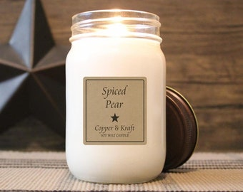 Spiced Pear • Soy Candle, Scented Candle, Candles in Jars, Handmade Candle, Cozy Candle, Soy Wax Candles, Rustic Farmhouse Decor