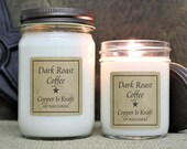 DARK ROAST COFFEE • Scented Candles • Soy Candles Handmade • Country Primitive Jar Candles • Soy Wax Candles • Rustic Farmhouse Candles