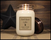 DARK ROAST COFFEE • Winter Soy Candles • Scented Candles • Mason Jar Candles • Soy Wax Candles • Rustic Farmhouse Candles