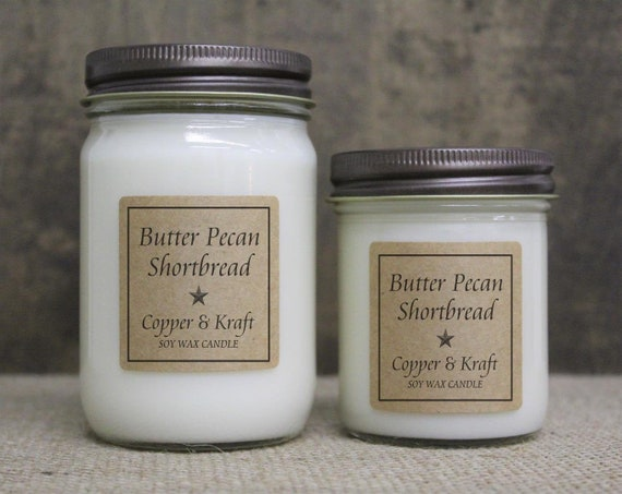 BUTTER PECAN SHORTBREAD • Scented Candles • Soy Candles Handmade • Soy Wax Candles • Country Primitive Jar Candles