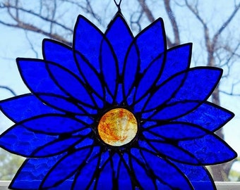 READY TO SHIP 3d textured royal blue flower with free shipping