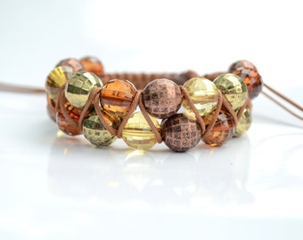 Light Shamballa Bracelet, Autumn 2 row Shamballa Bracelet, 2 Row Brown and Yellow Bead Shamballa Bracelet, Brown  Bracelet, Yellow Bracelet