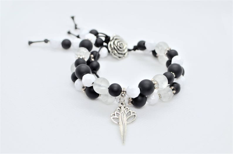 Black Onyx and White Crackle Quartz Beads 2 Layers Boho Bracelet decorated with Metal Feather /& Lotus charms and metal Rose button
