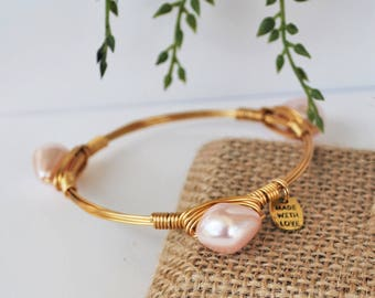 Pearl Bangles, Stackable Bangles, Dainty Bracelet, Southern Prep, Pastel Goth, Vineyard Vines Style, October Jewelry, Stacking Bangles, Pink