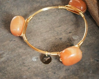 Aventurine Bangle, Neutral Bangle, Natural, Unique Bangle, Neutral Bracelets, Bangle, Stackable Bangles, Bracelets, Accessories, Jewelry