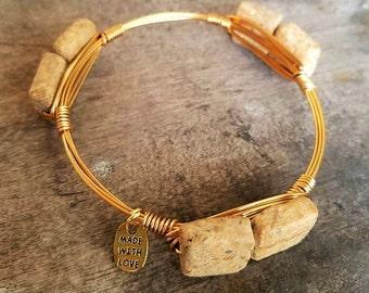 Riverstone Gemstone Bangle, Neutral Gemstone Bangle Stack, gemstone jewelry, bangles, neutral jewelry, handmade, stack stone bangles