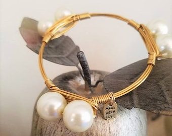 Pearl Beads, Wired Bangles, Bracelets, Beads, Wire,Stone bangles, pearl jewelry, Bangles, Bracelets, Accessories, Jewelry