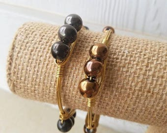 Glass Gunmetal and Gold Bangles, metallic bangles, bangle stacks, glass bead jewelry, stacked bangles, gunmetal jewelry, gold jewelry, wire