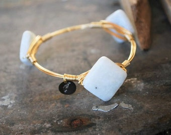 Aquamarine Bangle, Aqua bangle, Natural Stone Bangle, Unique Bangle, Bangle, Stackable Bangles, Bracelets, Accessories, Jewelry