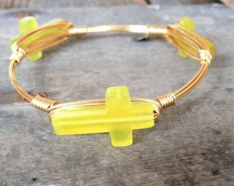 Yellow/Green Jade Cross, Cross Bangle, Jade, Natural Stone Bangle, Stone bangles, Bangle, Stackable Bangles, Bracelets, Jewelry, crosses