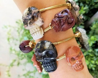 Skull, Natural Stone, Wire Bangles, Stackable Bangles, Bracelets, Accessories, Jewelry, grown up gothic jewelry, skull bangles, skeleton