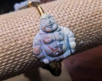 Buddha Bangle, Picasso Jasper Buddha Bangle, Stone Bangle, Grey Bangle, Grey Buddha Bangle, Buddha, Bangles, Natural Stone Bangles, Jewelry