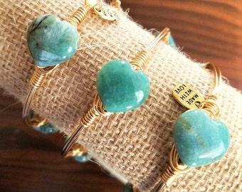 Green Jasper Hearts Bangle, Bangles, Turquoise, Teal Bangles, Turquoise Bracelets, Stone Bangles, Gemstone Bangles, Valentine's Day