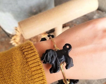 Black Agate Lion Bangle, Lion Bangle, Black Agate Bangle, Stone Bangle, Gemstone Bangle, Animal Jewelry, Lions, Natural Stone Jewelry