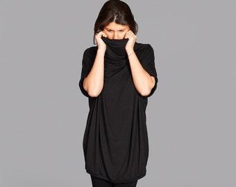 Womens Black Tunic, Black Oversized Top, Women Sweater Tunic, Women Loose Top, Turtleneck Top, Black Tunic, Short Sleeved Tunic, Long Top