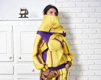 Loose Sweater, Extravagant Top, Futuristic Clothing, Yellow Sweater, Avant Garde Clothing, Plus Size Blouse, Plus Size Sweater,Women Sweater