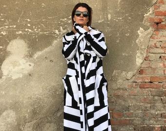 Plus Size Cardigan, Long Sweater Coat, Black And White Coat, Women Fall Cardigan, Avant Garde Clothing, Women Maxi Cardigan, Women Cardigan