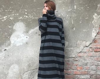 Winter Maxi Dress, Sweater Dress, Plus Size Clothing, Women Kaftan Dress, Turtleneck Dress, Maxi Dress, Striped Dress,Gray Dress,Loose Dress