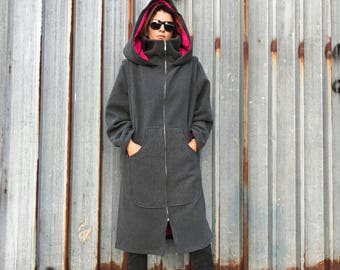 Hooded Coat, Women Winter Coat, Oversized Coat, Maxi Coat, Wool Coat, Warm Coat, Hooded Hoodie, Elven Clothing, Long Coat, Cape Coat