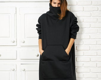 Sweatshirt Dress, Plus Size Dress, Black Maxi Dress, Loose Dress,  Sweater Coat, Gothic Clothing, High Neck Dress, Black Sweater Dress