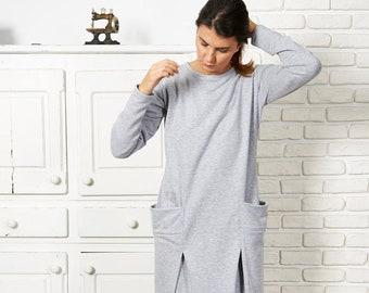 Abaya Dress, Plus Size Kaftan Dress, Maxi Dress, Sweater Dress, Women Dress, Minimalist Dress, Long Maxi Dress, Gray Dress, Elegant Dress,
