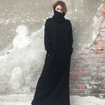 Plus Size Maxi Dress, Knit Sweater Dress, Long Maxi Dress, Winter Maxi Dress, Women Dress, Elegant Dress, Black Dress, Bohemian Clothing