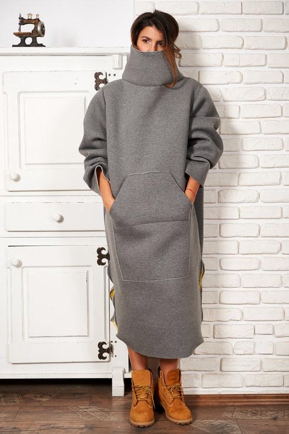 Turtleneck Sweater Tunic, Plus Size Clothing, Winter Dress, Casual Dress,  Gray Tunic Sweatshirt, Boho Sweatshirt, Women Dress, Sweater Dress