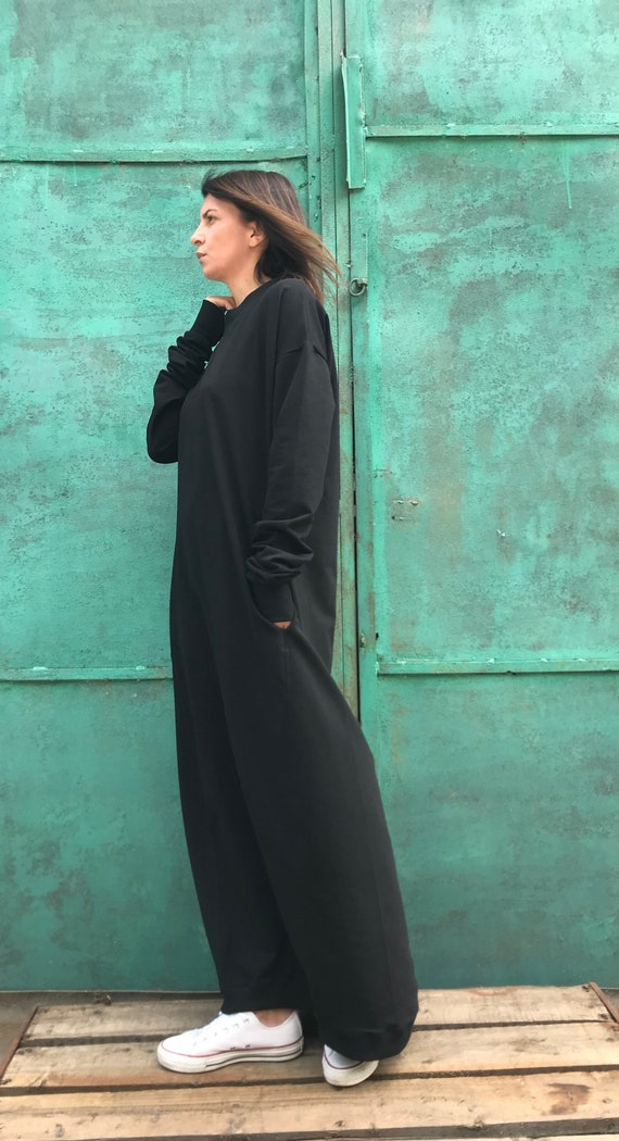 Plus Size Dress, Plus Size Clothing, Black Long Dress, Plus Size Cotton  Dress, Black Maxi Dress, Oversized Black Dress, Loose Fit Dress