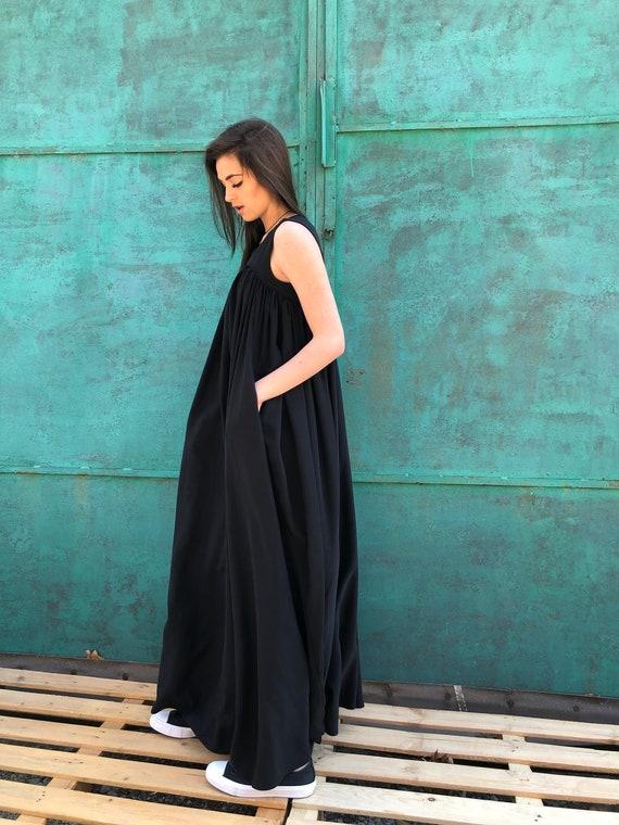 Black Maxi Dress, Black Minimalist Dress, Black Kaftan Dress, Black Abaya  Dress, Plus Size Maxi Dress, Plus Size Dress, Kaftan Dress, Maxi
