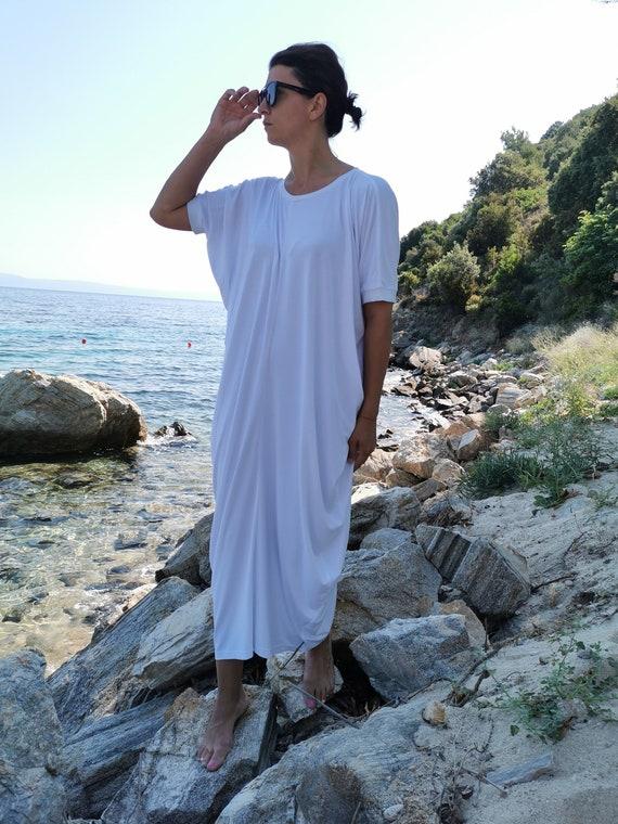 Plus Size White Dress, White Summer Dress, White Draped Dress, Oversized  White Dress, Loose White Dress, Casual White Dress, White Dress