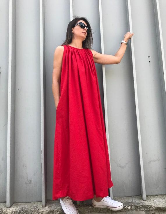 Red Linen Dress, Long Red Linen Dress, Plus Size Dress, Red Wedding Dress,  Red Caftan Dress, Women Red Dress, Long Red Dress, Red Dress