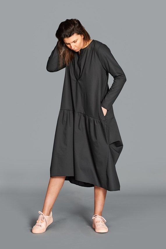 Plus Size Dress, Black Dress, Loose Women Dress, Black Balloon Dress, Long  Sleeved Dress, Black Midi Dress, Plus Size Clothing, Black
