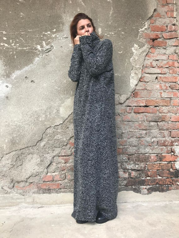Knitted Dress, Plus Size Dress, Oversized Dress, Winter Maxi Dress, Maxi  Kaftan Dress, Turtleneck Dress, Gray Dress, Women Dress, Warm Dress