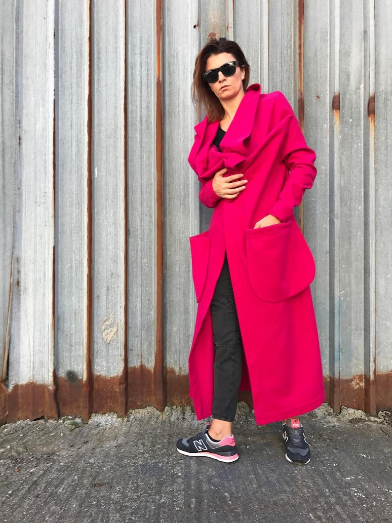 Womens Wool Cardigan Wrap Coat Maxi Cardigan Loose image 0