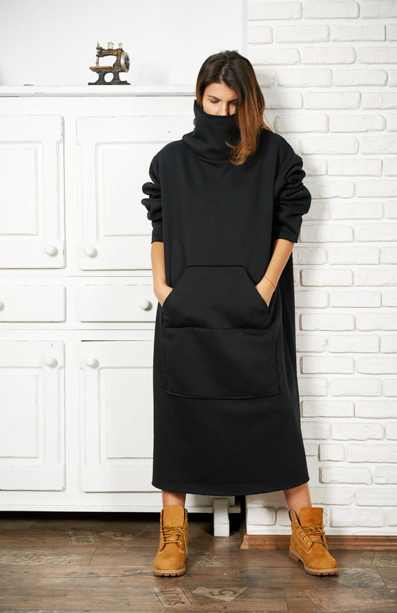 Sweatshirt Dress, Plus Size Dress, Black Maxi Dress, Loose Dress, Sweater  Coat, Gothic Clothing, High Neck Dress, Black Sweater Dress