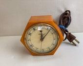 Bakelite Alarm Clock Butterscotch Catalin Telechron Amber Swirl Body Vintage Art Deco Electric Display Piece 1940 39 s Original Label