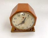 Bakelite Alarm Clock Caramel Catalin Telechron Deep Amber Swirl Body Vintage Art Deco Desk Timepiece 1940 39 s Original Brass Base