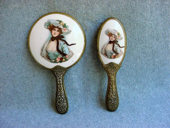 Portrait Hand Mirror Brush Set Vintage Victorian Lady Vanity Etsy