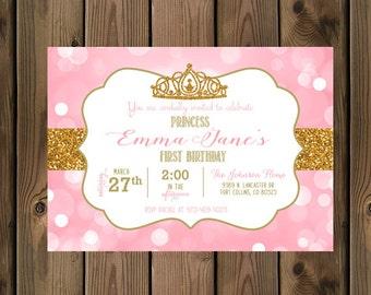 Little Princess Birthday Invitation Pink Gold Glitter 1st First Digital File 93