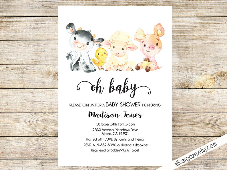 picture relating to Etsy Printable Invitations named Farm Pets Kid Shower Invitation, electronic, Printable Invitation, Cow, Red, Sheep, Chick _189