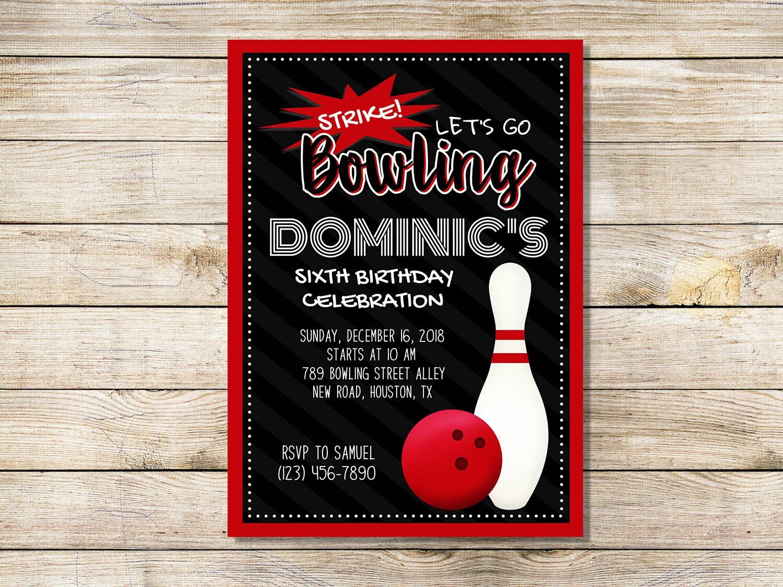 Bowling Strike Birthday Party Invitation