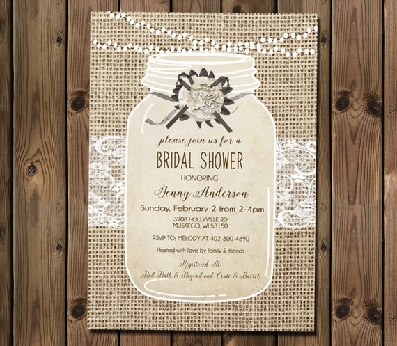 5b4f4ae299a Rustic Bridal Shower Invitation Burlap and Lace Invitation