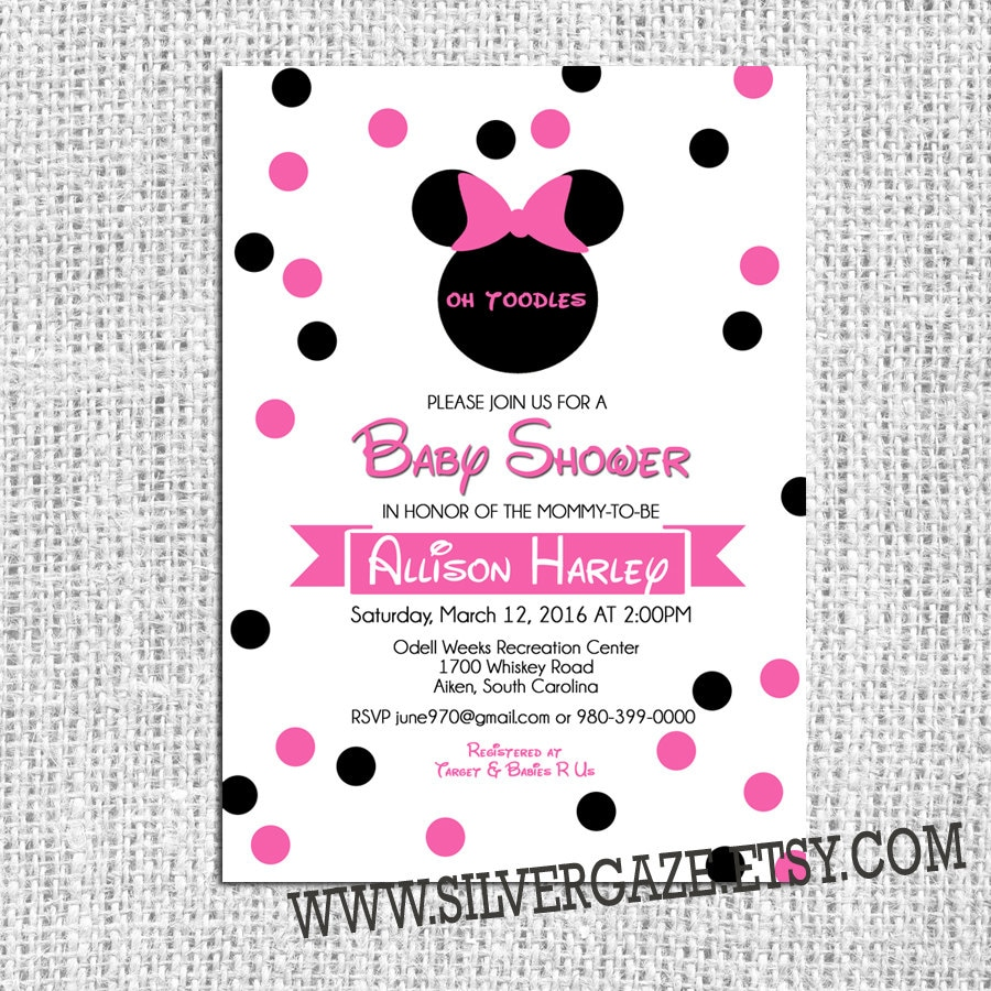 Minnie Mouse baby girl shower invitations Hot Pink and Black | Etsy