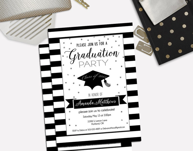 Silver Glitter Graduation Invite,Striped Invitation/_101 Graduation Invitation Graduation Party Invitation