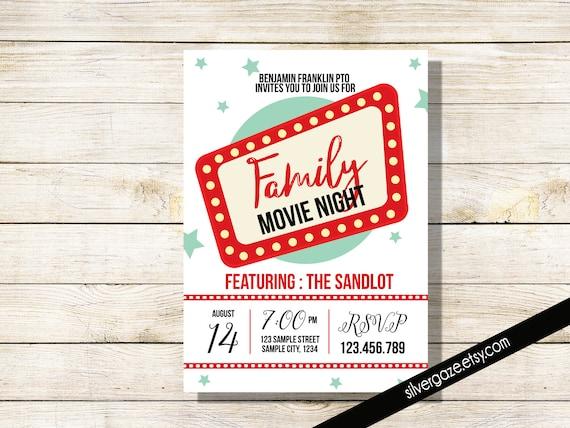family movie night flyer school or church movie party pto etsy