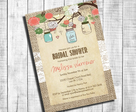 a065d3f4ec3 Rustic Burlap Bridal Shower Invitation Mason Jar Lace