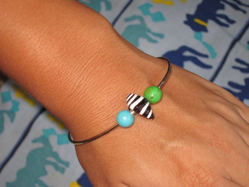 Zebra Cone Shell with Blue and Green Turquoise Hammered Bangle