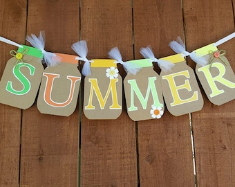 SUMMER SIGN, Summer Banner, Mason Jar Summer Banner, Mason Jar Banner, Mason Jar Sign, Mason Jar Decor, Summer Decor, Custom Banner, Banner