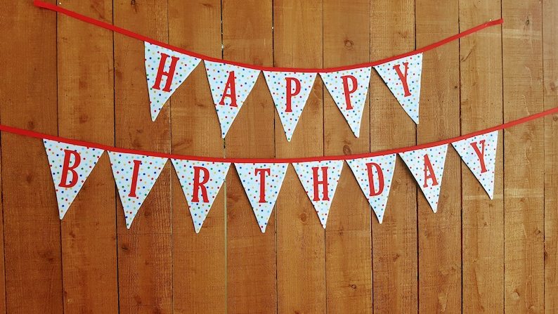 HAPPY BIRTHDAY Polka Dot BANNER Bunting, Happy Birthday Banner Sign, Polka  Dot Garland Party, Happy Birthday Party Decorations, Party Flags